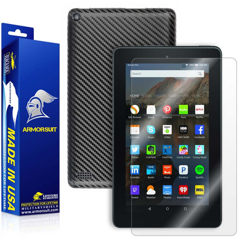 "Amazon Fire 7"" Screen Protector (2015) + Black Carbon Fiber Full Body Skin Protector"