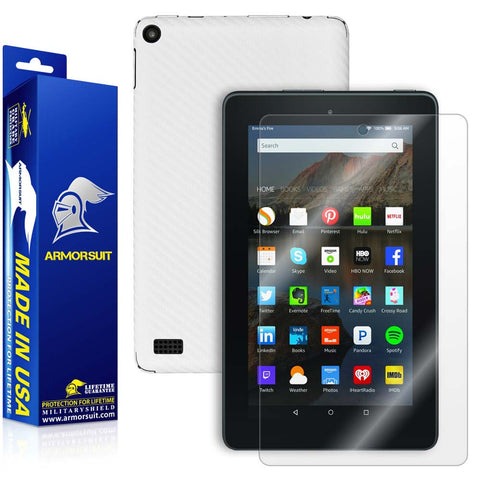 "Amazon Fire 7"" Screen Protector (2015 Released) + White Carbon Fiber Full Body Skin Protector"