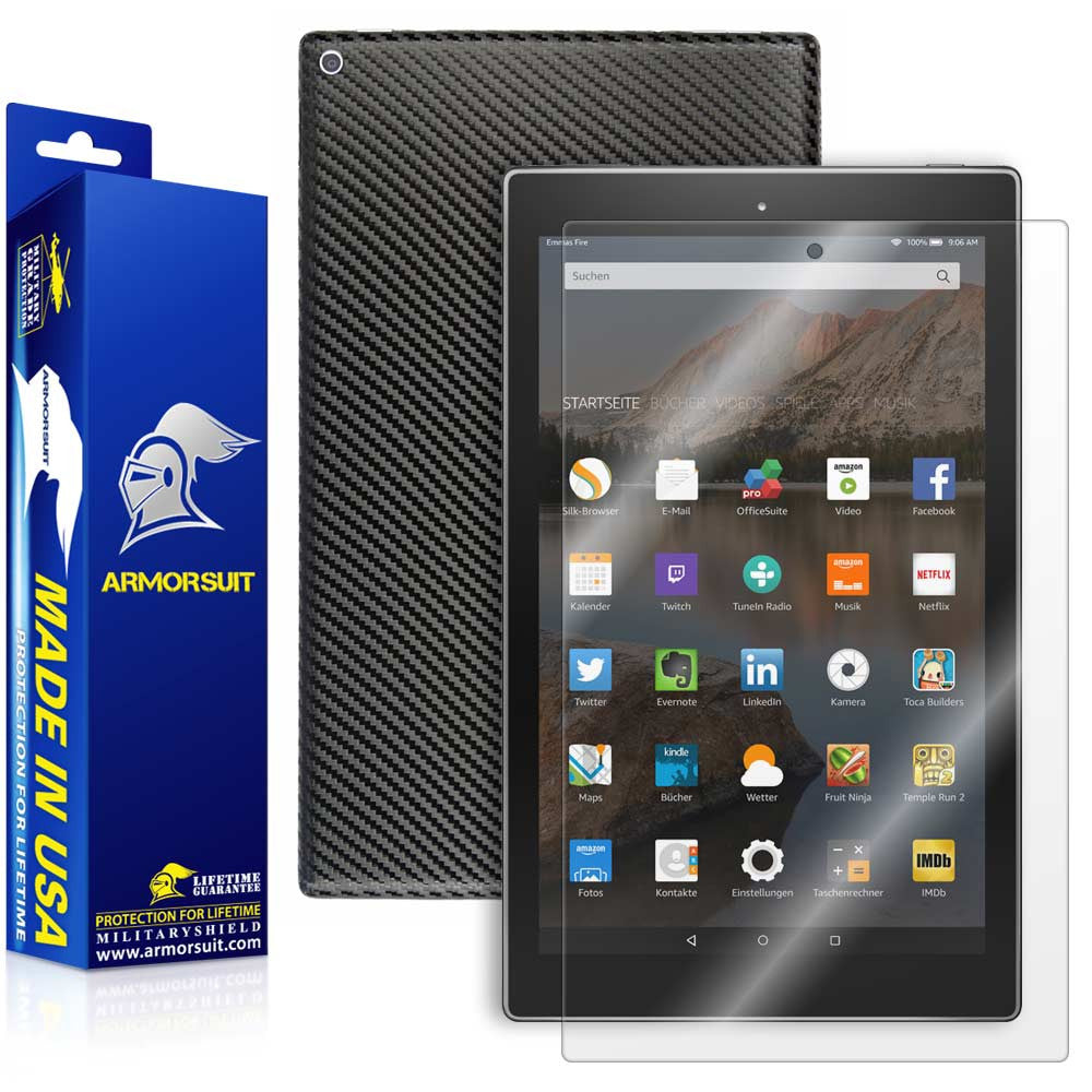 "Amazon Fire HD 10 Screen Protector (10.1"" - 2015 Edition) + Black Carbon Fiber Full Body Skin Protector"