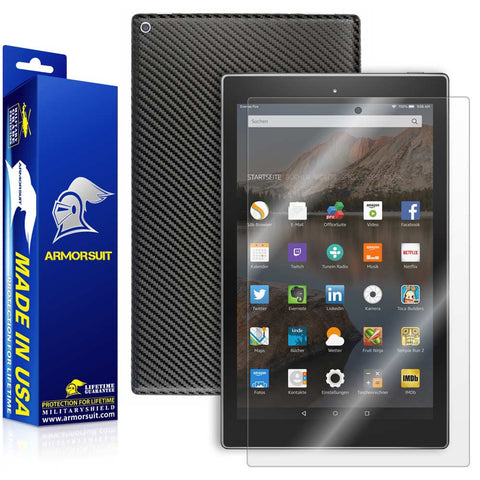 "Amazon Fire HD 10 Screen Protector (10.1"" - 2015 Edition) + Black Carbon Fiber"