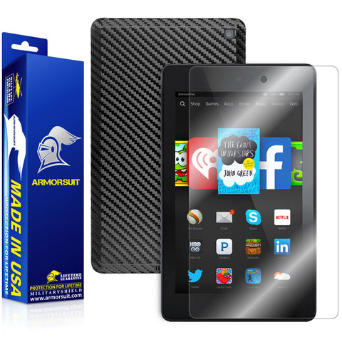 Amazon Fire HD 6 (2014) Screen Protector + Black Carbon Fiber Skin