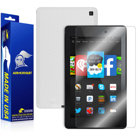 Amazon Fire HD 6 (2014) Screen Protector  + White Carbon Fiber Skin