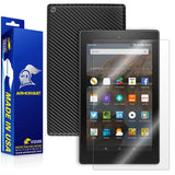 "Amazon Fire HD 8"" Screen Protector (2015)(5th Gen) + Black Carbon Fiber Full Body Skin Protector"