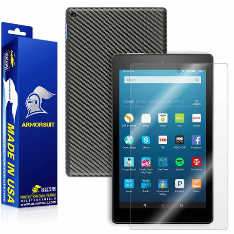 Amazon Fire HD 8 Screen Protector (6th Gen - 2016 Release) + Black Carbon Fiber Skin