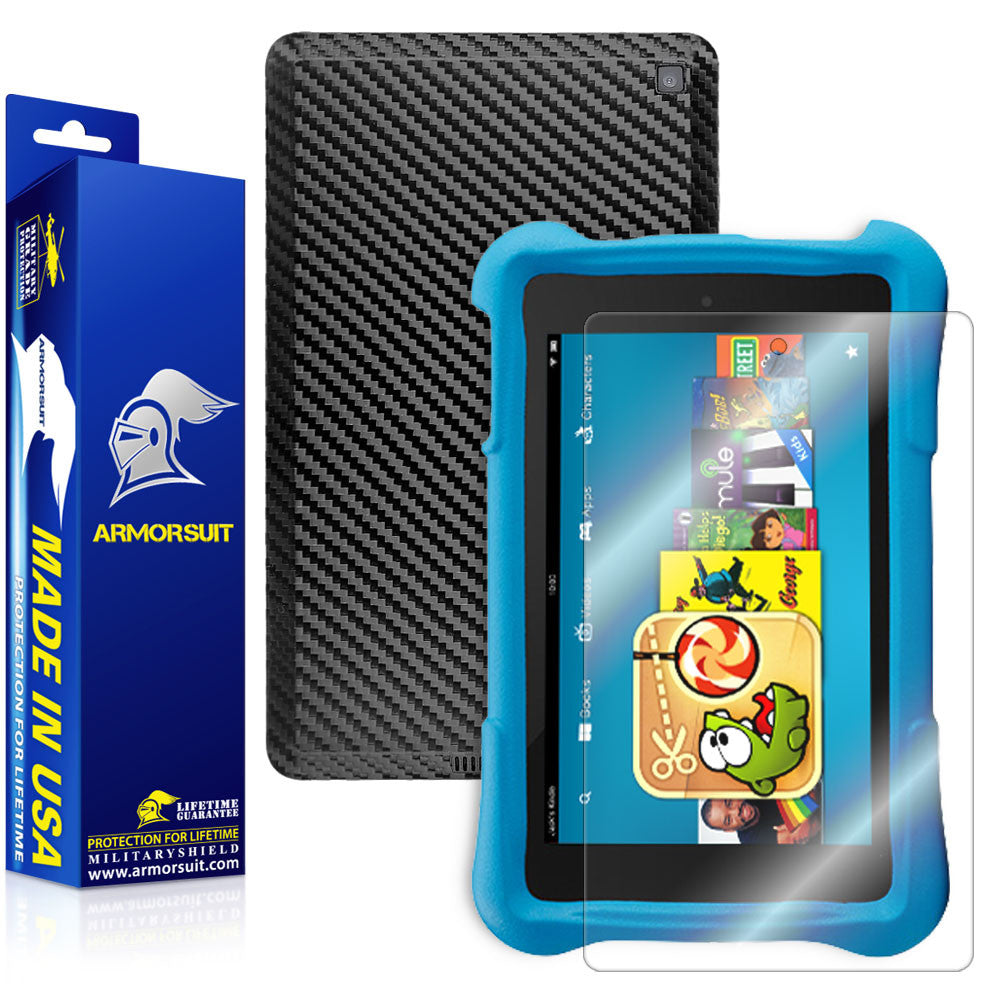 Amazon Fire HD 6 Kids Edition Screen Protector + Black Carbon Fiber Skin