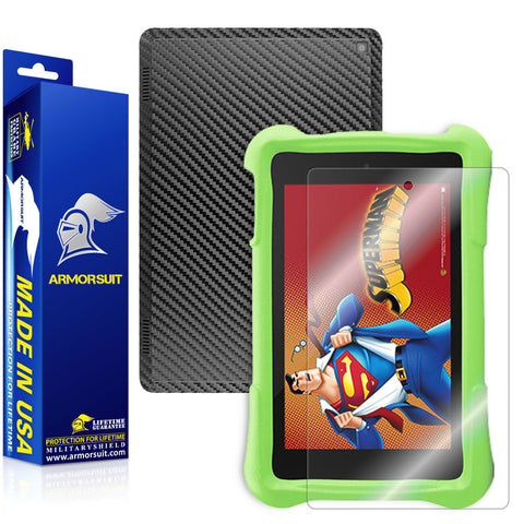 Amazon Fire HD 7 Kids Edition Screen Protector + Black Carbon Fiber Skin