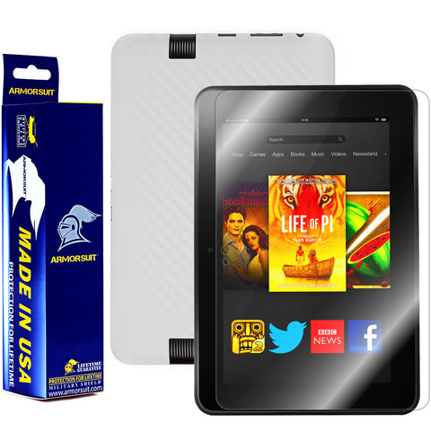 Amazon Kindle Fire HD 8.9 Inch Screen Protector + White Carbon Fiber Skin