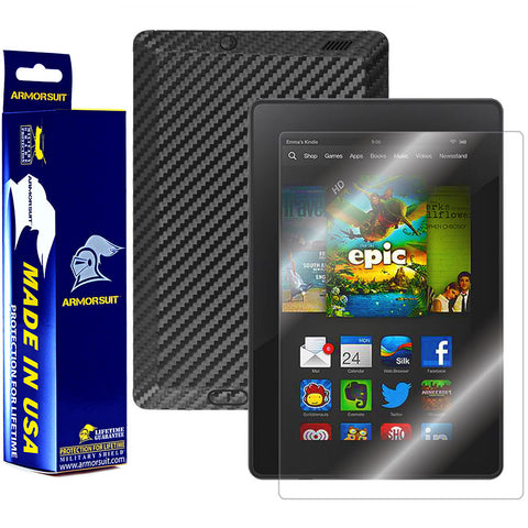 "Amazon Kindle Fire HD 7"" 2013 (2nd Generation) Screen Protector + Black Carbon Fiber Film Protector"