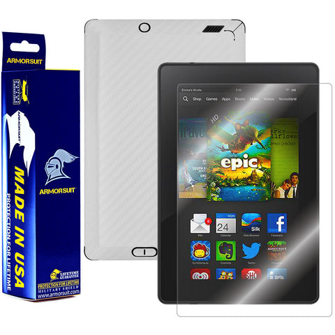 "Amazon Kindle Fire HD 7"" 2013 (2nd Generation) Screen Protector + White Carbon Fiber Film Protector"