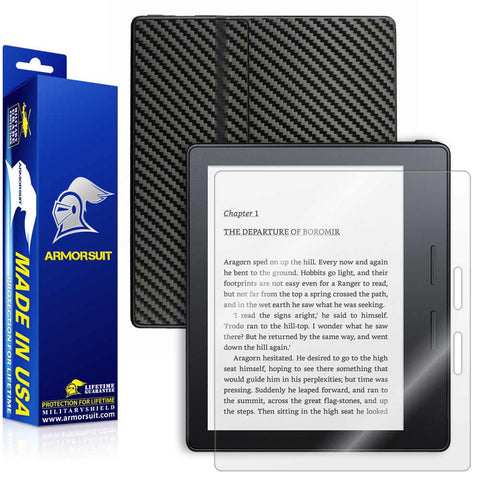 Amazon Kindle Oasis Screen Protector + Black Carbon Fiber Skin