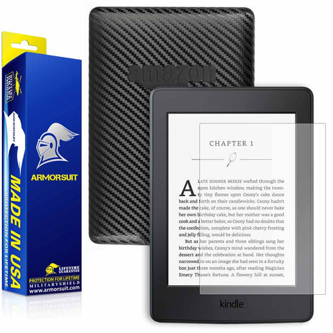 Amazon Kindle Paperwhite (2015) Anti-Glare (Matte) Screen Protector +  Black Carbon Fiber Skin