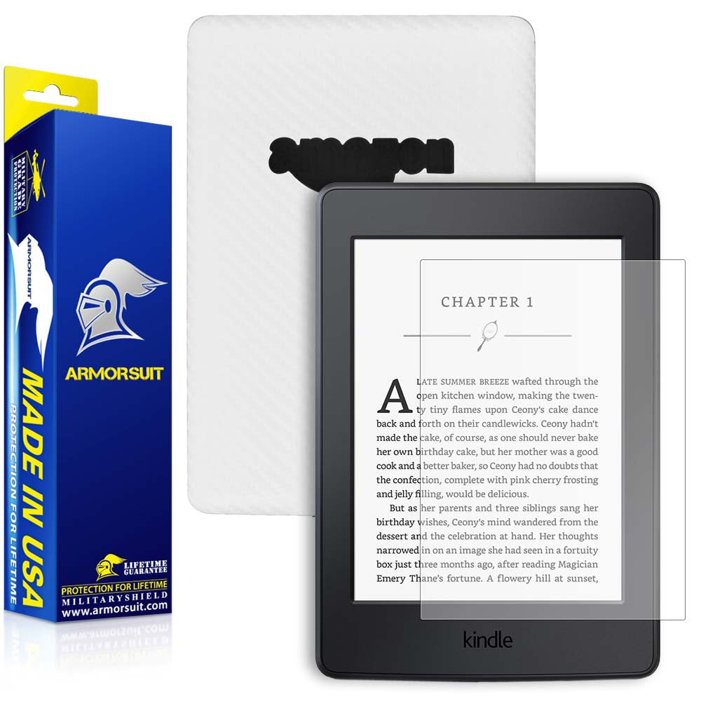 Amazon Kindle Paperwhite (2015) Anti-Glare (Matte) Screen Protector +  White Carbon Fiber Skin