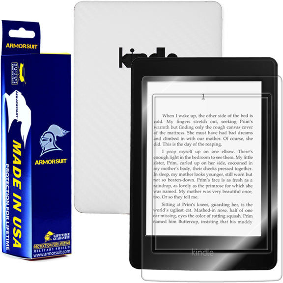 Amazon Kindle Paperwhite Screen Protector + White Carbon Fiber skin Protector