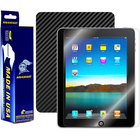Apple iPad Screen Protector + Black Carbon Fiber Film Protector