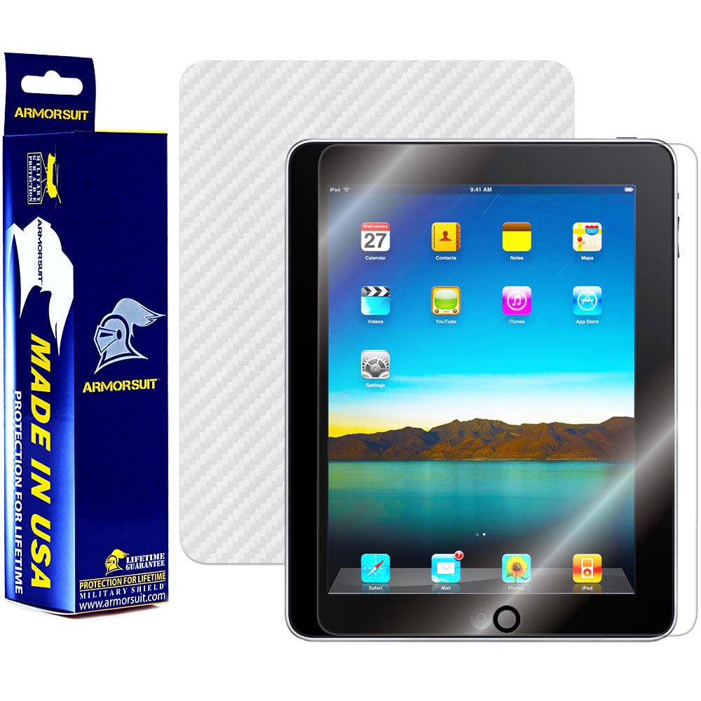 Apple iPad Screen Protector + White Carbon Fiber Film Protector