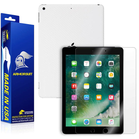 "Apple iPad 9.7"" (2017) WiFi +4G LTE Screen Protector  + White Carbon Fiber Skin"