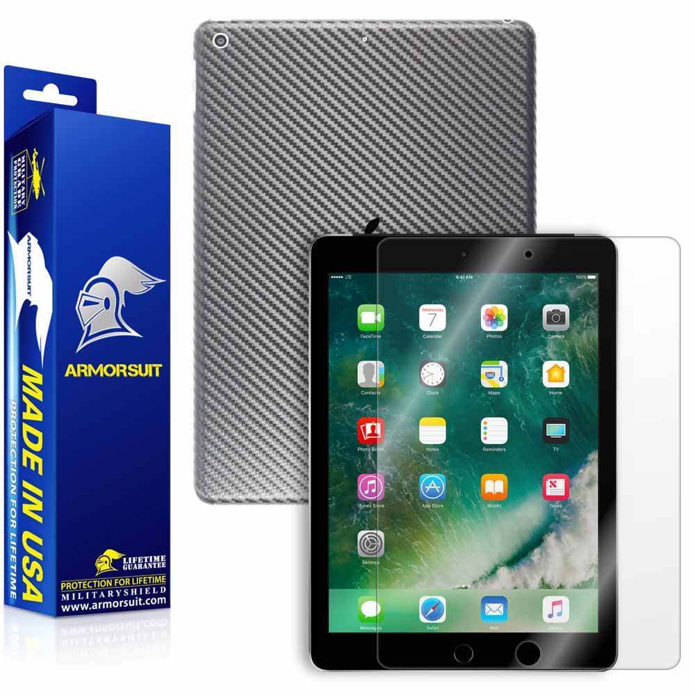 "Apple iPad 9.7"" (2017) WiFi ONLY Screen Protector + Black Carbon Fiber Skin"