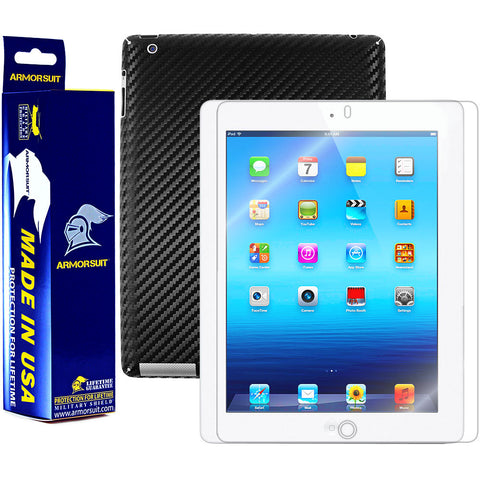 Apple iPad 3 Screen Protector + Black Carbon Fiber Film Protector (3rd Gen)