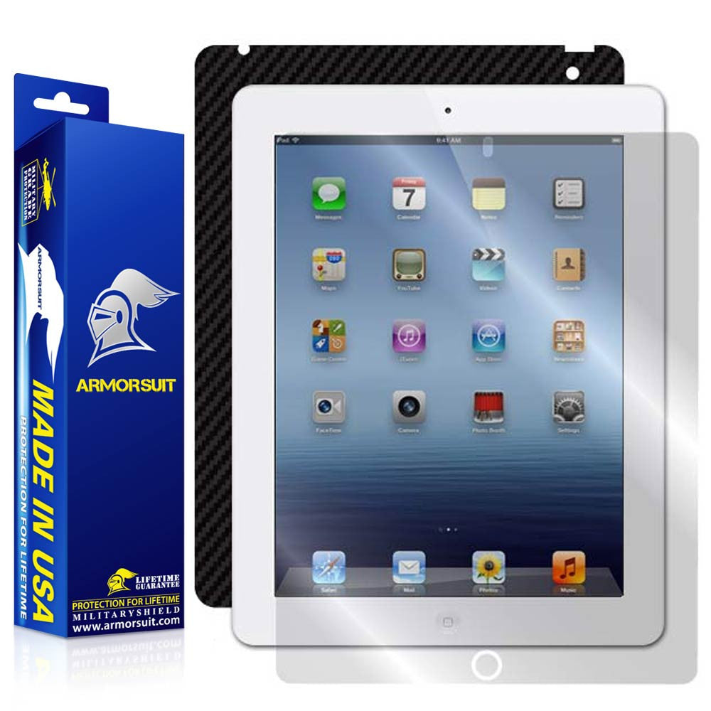 Apple iPad 3 Screen Protector + Black Carbon Fiber Skin Protector (Verizon 4G) - 3rd Gen