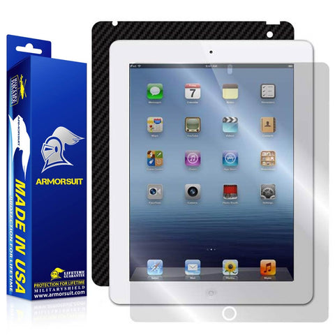 Apple iPad 3 Screen Protector + Black Carbon Fiber Skin Protector (AT&T 4G) - 3rd Gen