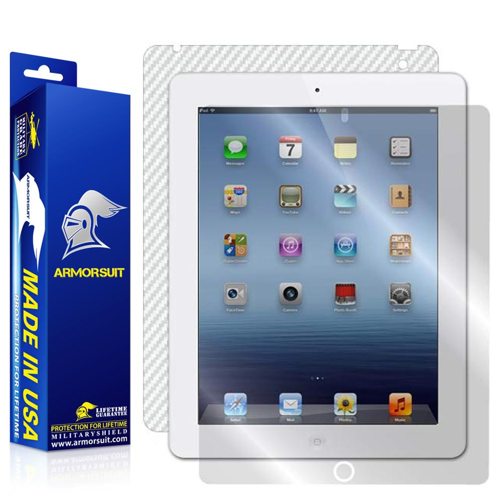 Apple iPad 3 Screen Protector + White Carbon Fiber Skin Protector (Verizon 4G) - 3rd Gen