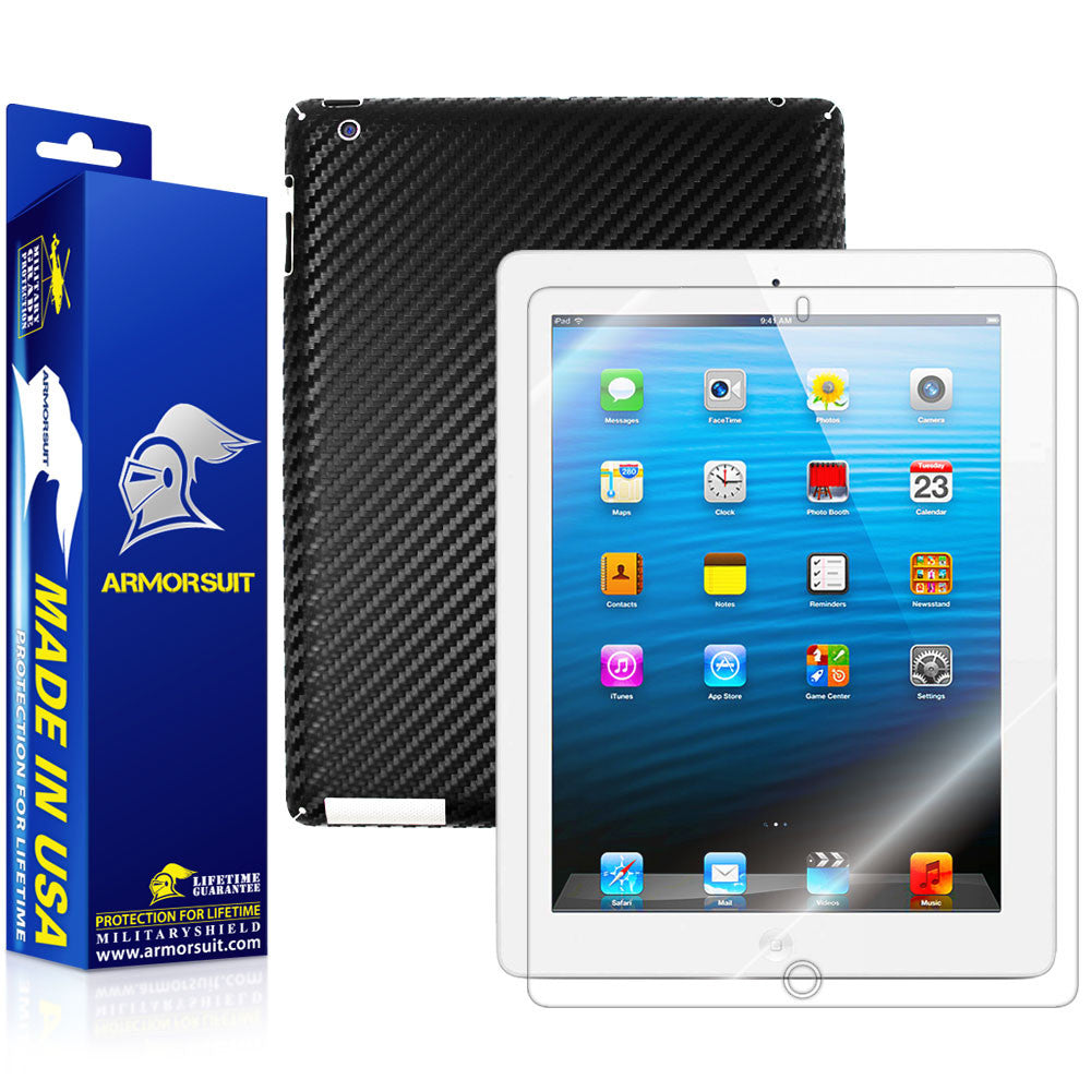 Apple iPad 4 Screen Protector + Black Carbon Fiber Film Protector