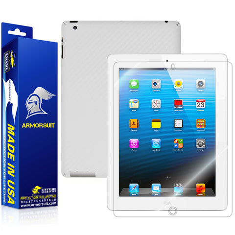 Apple iPad 4 (WiFi + 4G LTE) Screen Protector + White Carbon Fiber Film Protector
