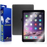 Apple iPad Air 2 (WiFi + 4G LTE) Screen Protector + Black Carbon Fiber Skin
