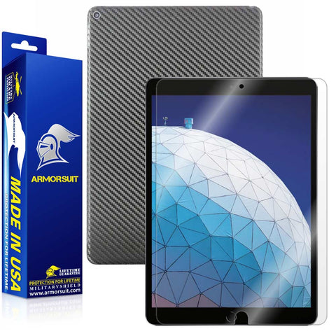 Apple iPad Air 3 (2019) WiFi ONLY Screen Protector + Black Carbon Fiber Skin