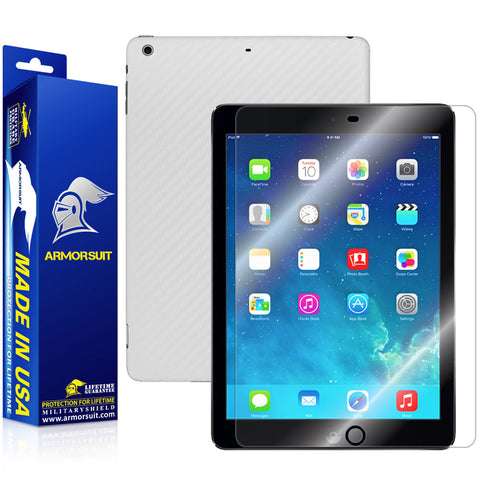 Apple iPad Air (WiFi + LTE) Screen Protector + White Carbon Fiber Film Protector
