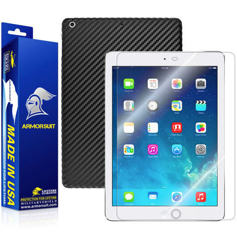 Apple iPad Air Screen Protector + Black Carbon Fiber Film Protector
