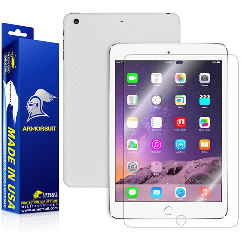 Apple iPad Mini 3 Screen Protector  + White Carbon Fiber Skin