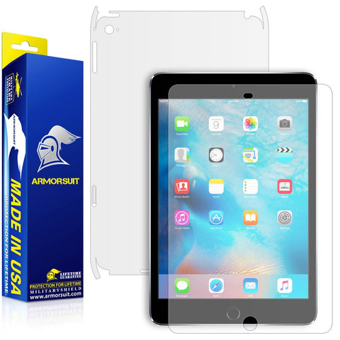 Apple iPad Mini 4 (Wifi + 4G LTE ) Matte (Anti-Glare) Screen Protector + Matte Full Body Skin Protector