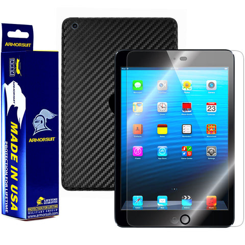Apple iPad Mini Screen Protector + Black Carbon Fiber Film Protector