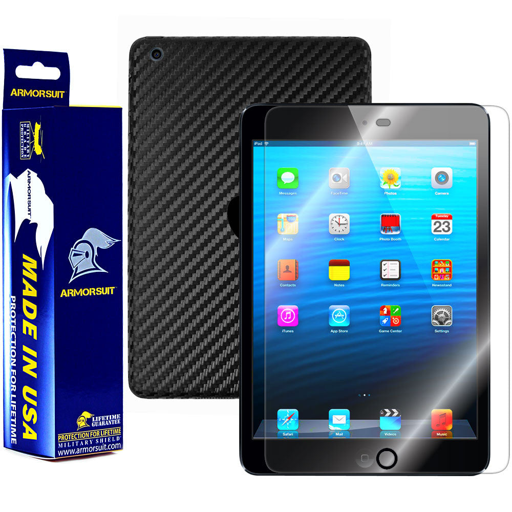 Apple iPad Mini (Wifi + 4G LTE) Screen Protector + Black Carbon Fiber Film Protector