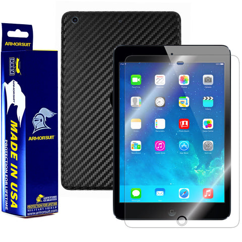 Apple iPad Mini w/ Retina Display (Wifi + LTE) Screen Protector + Black Carbon Fiber Film Protector