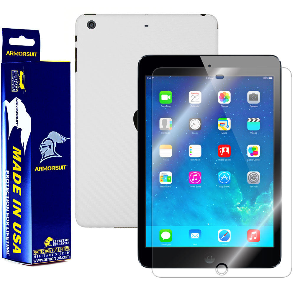 Apple iPad Mini 2 w/ Retina Display (Wifi + LTE) Screen Protector + White Carbon Fiber Film Protector