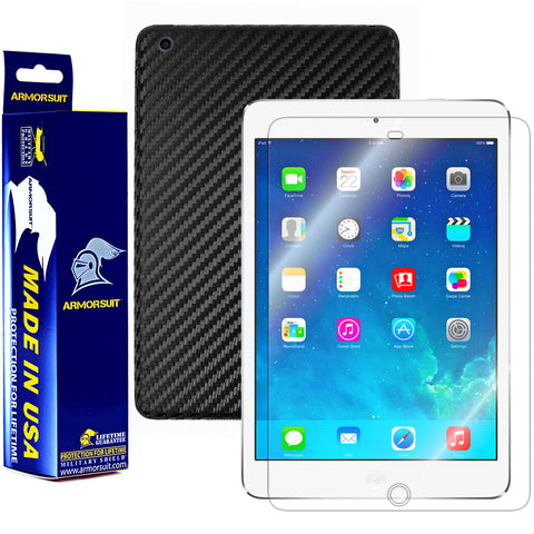 Apple iPad Mini w/ Retina Display Screen Protector + Black Carbon Fiber Film Protector