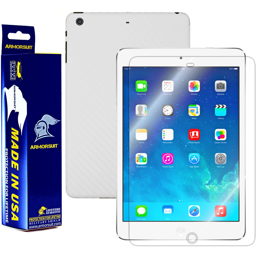 Apple iPad Mini 2 w/ Retina Display Screen Protector + White Carbon Fiber Film Protector