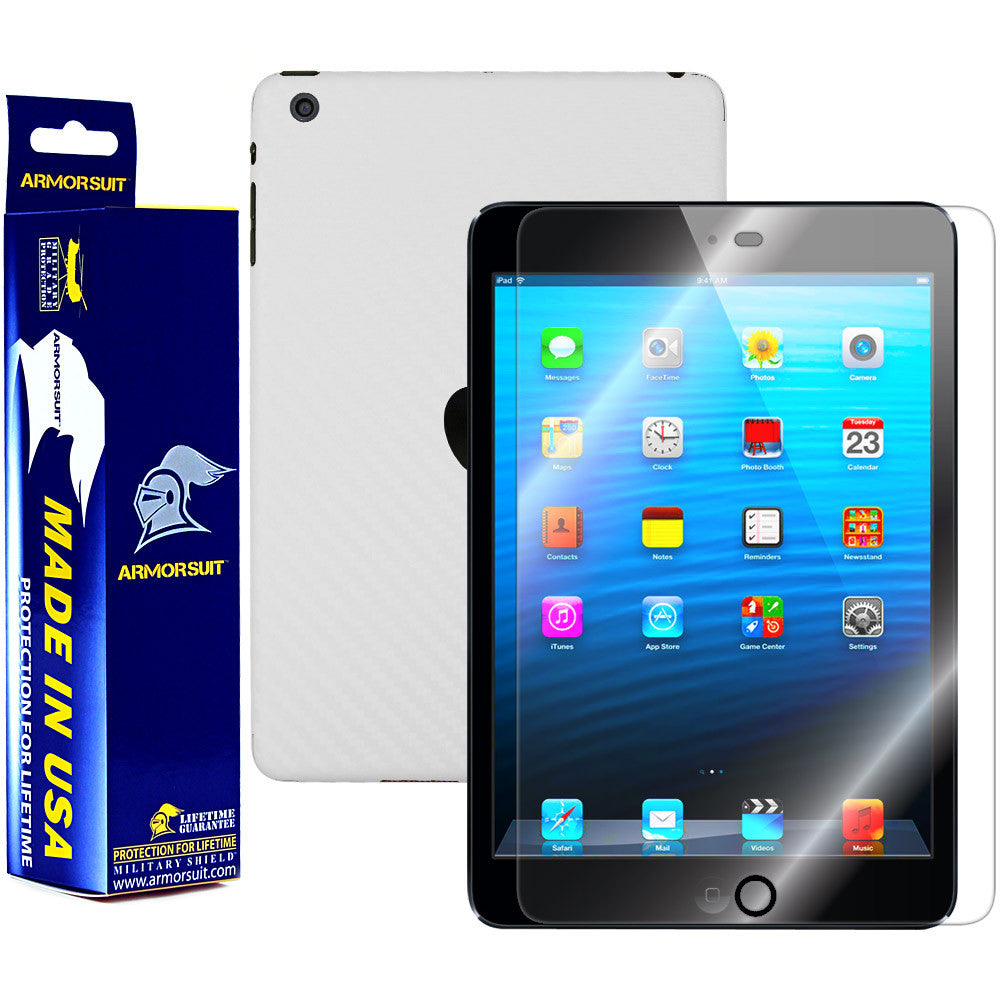 Apple iPad Mini (Wifi + 4G LTE) Screen Protector + White Carbon Fiber Film Protector