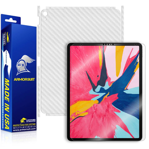"Apple iPad Pro 12.9"" (2018) Screen Protector + White Carbon Fiber Skin"