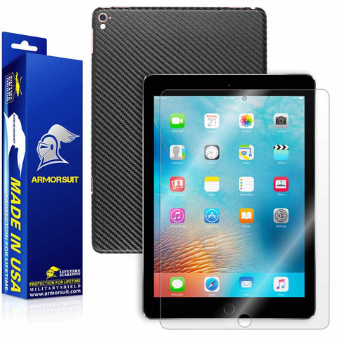 "Apple iPad Pro 9.7"" (WiFi + 4G LTE) Screen Protector + Black Carbon Fiber Skin"