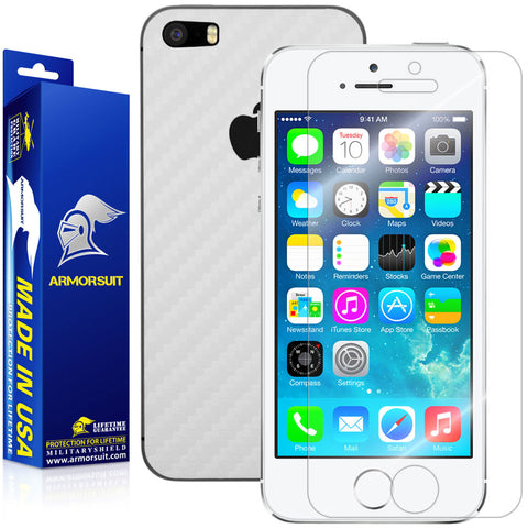 Apple iPhone 5 / 5S Screen Protector + White Carbon Fiber Film Protector
