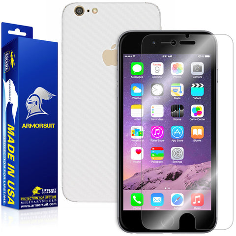 Apple iPhone 6 Plus Screen Protector + White Carbon Fiber Skin