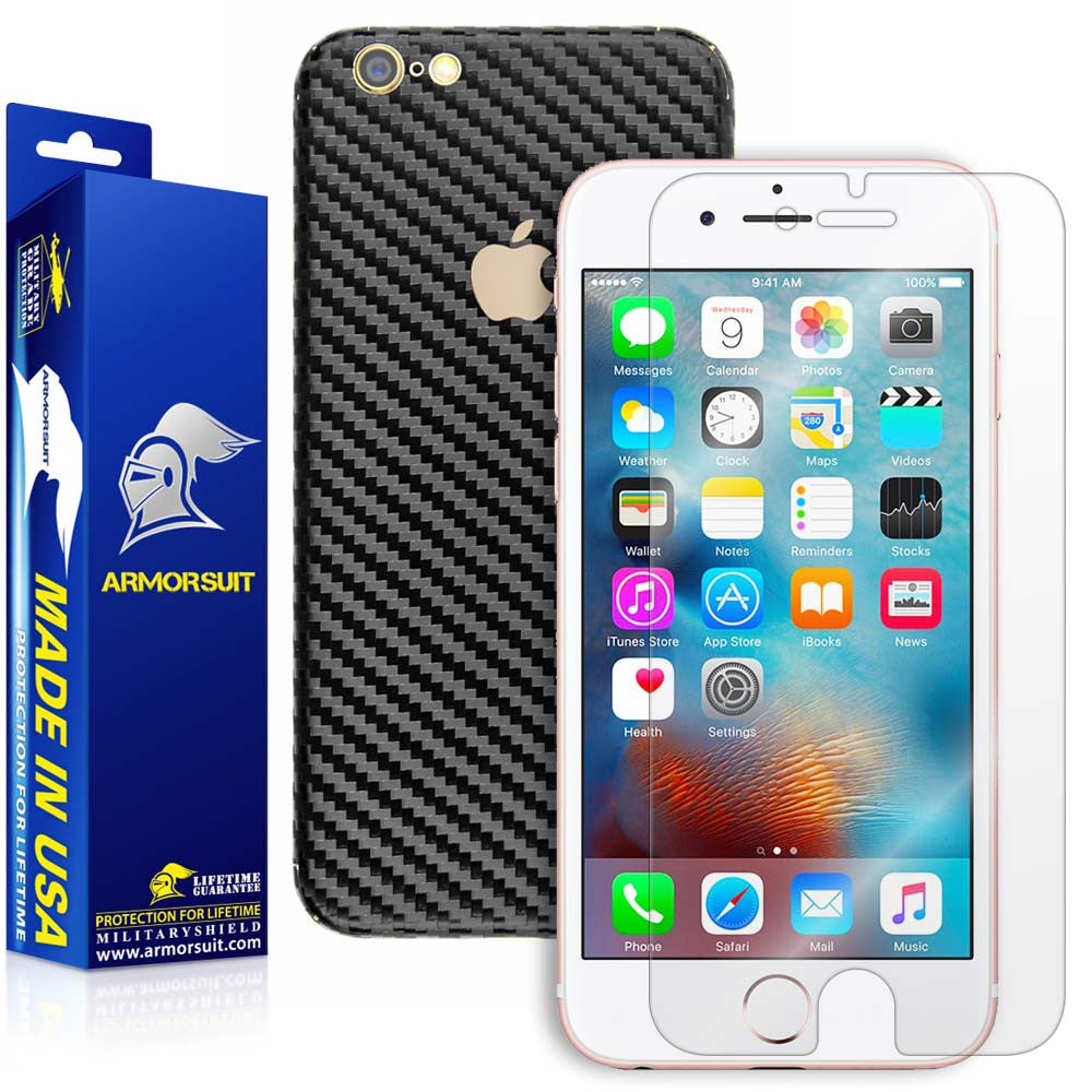 Apple iPhone 6s Screen Protector + Black Carbon Fiber Skin