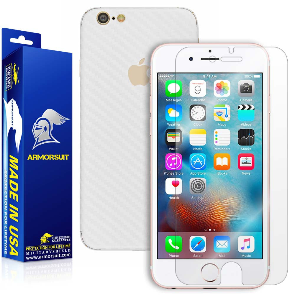 Apple iPhone 6s Screen Protector + White Carbon Fiber Skin