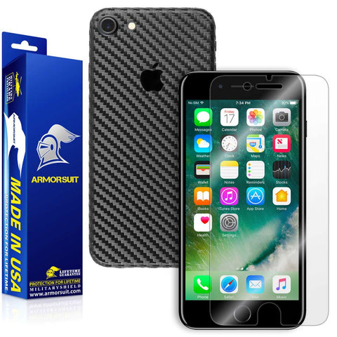 Apple iPhone 7 Screen Protector + Black Carbon Fiber Skin