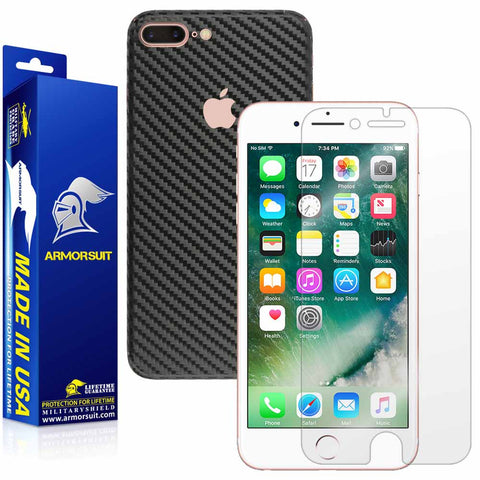 Apple iPhone 7 Plus Screen Protector + Black Carbon Fiber Full Body Skin Protector