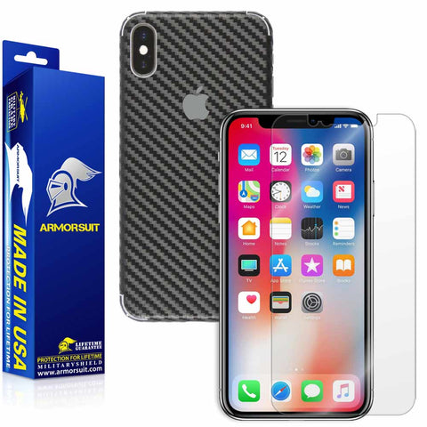 Apple iPhone X Screen Protector + Black Carbon Fiber