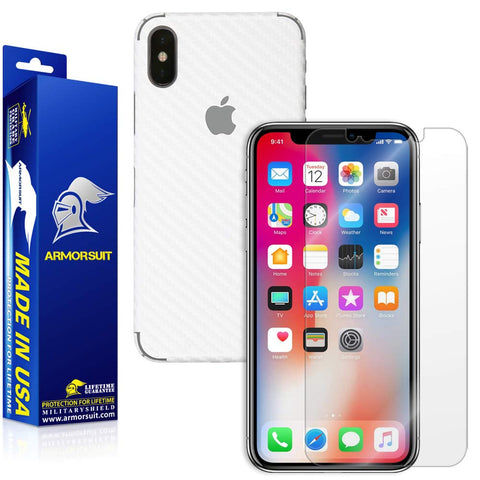 Apple iPhone X Screen Protector + White Carbon Fiber